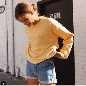 Brandy Melville Yellow Honey Crew Neck Pullover